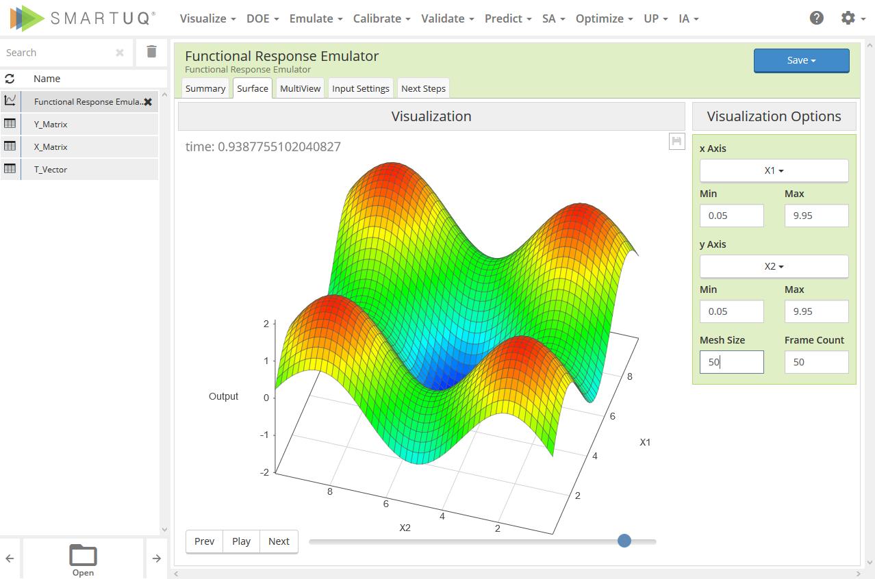 SmartUQ界面顯示功能仿真器。